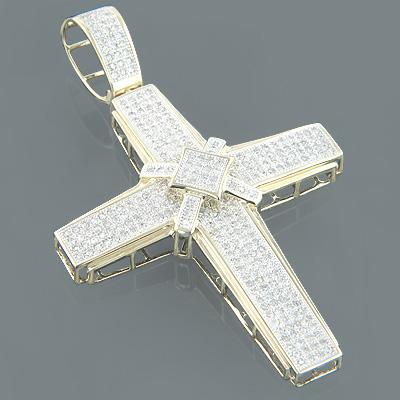 10K Gold Mens Cross Pendant with Diamonds 1.83ct