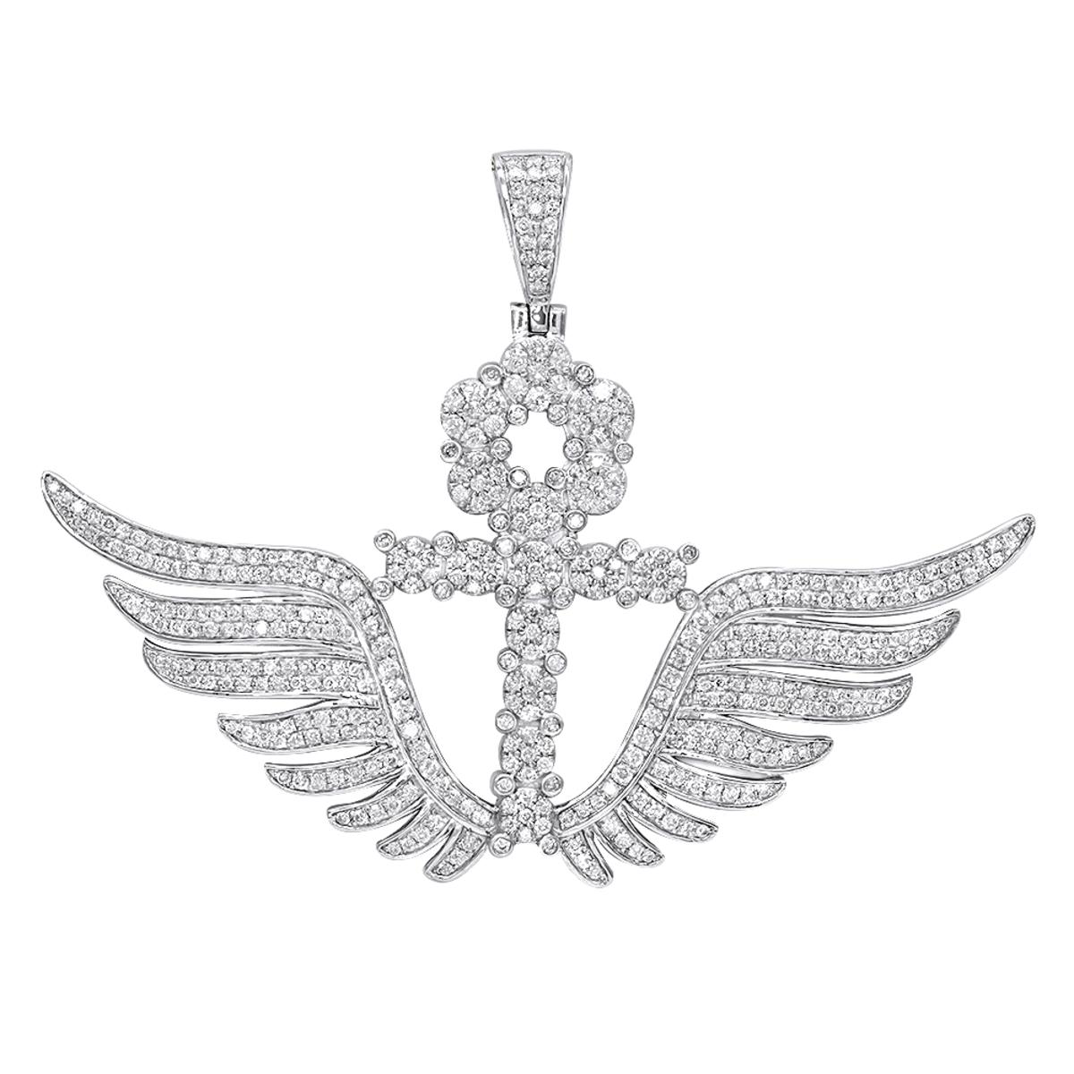 10K Gold Mens Diamond Ankh Pendant Cross with Wings 3.33ct by Luxurman