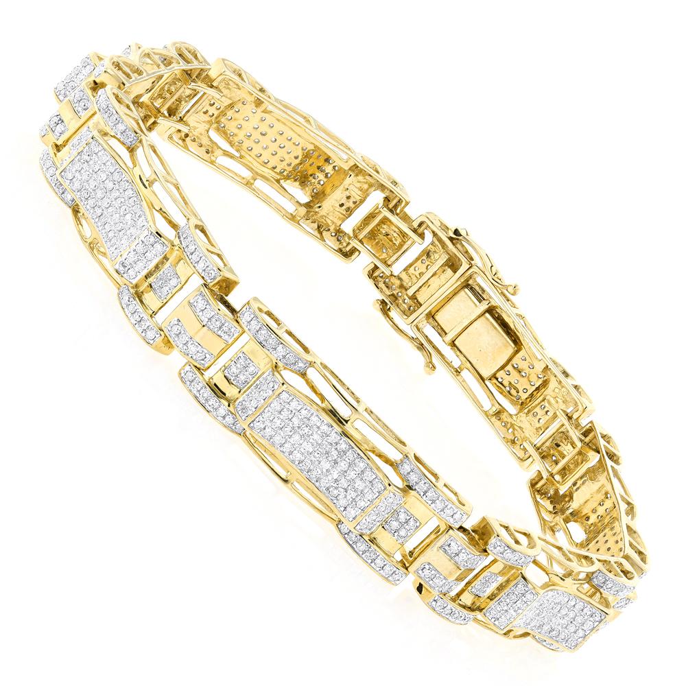 10K Gold Mens Diamond Bracelet 3.27ct