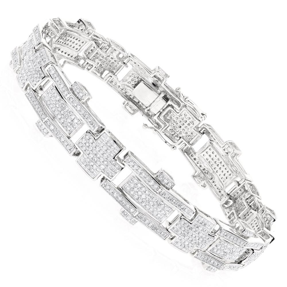 10K Gold Mens Diamond Bracelet 3.58ct