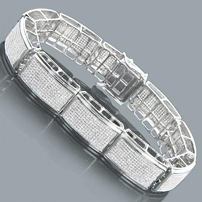 10K Gold Mens Diamond Bracelet 6.72ct