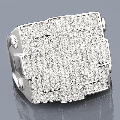 10K Gold Mens Diamond Pinky Ring 0.88ct