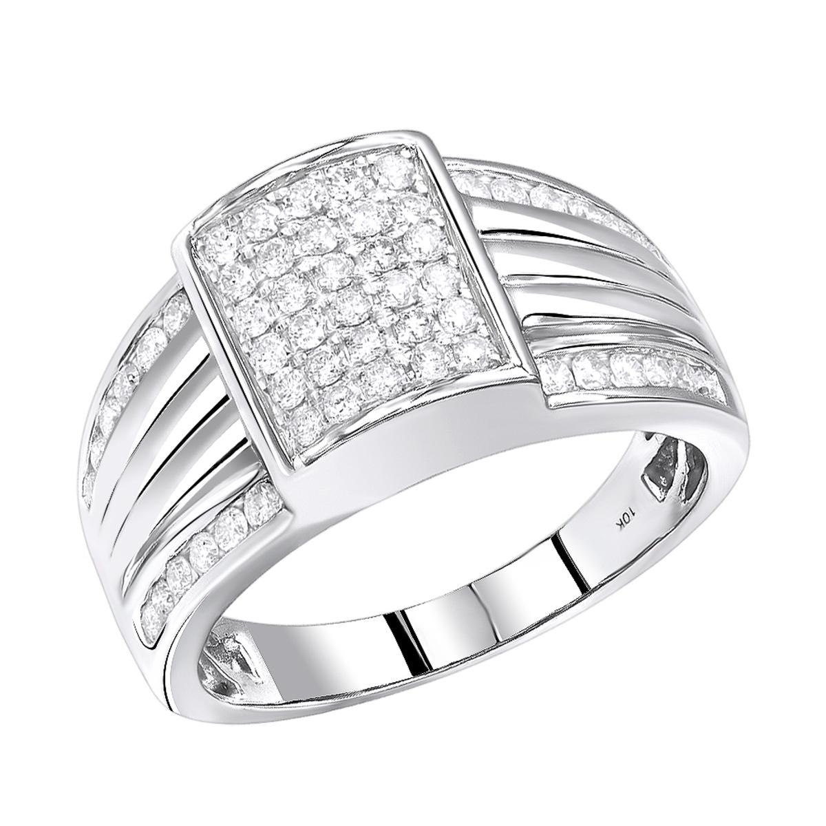 10K Gold  Mens Diamond Pinky Ring 1 Carat by Luxurman