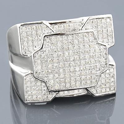 10K Gold Mens Diamond Ring 0.83ct