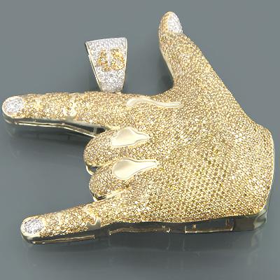 10K Gold Mens Yellow Diamond Hand Pendant 12.46ct