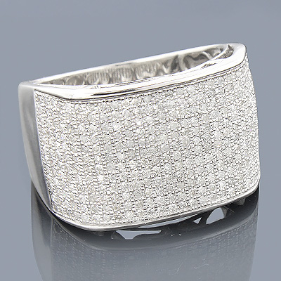 10K Gold Pave Mens Diamond Ring 1.32ct