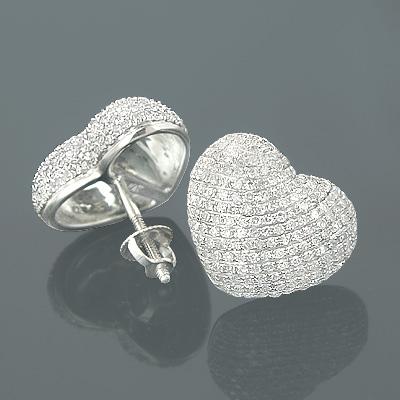 10K Gold Pave Set Heart Diamond Earrings 1.50ct