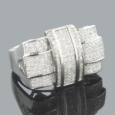 10K Gold Princess Round Diamond Criss Cross Ring 0.87ct
