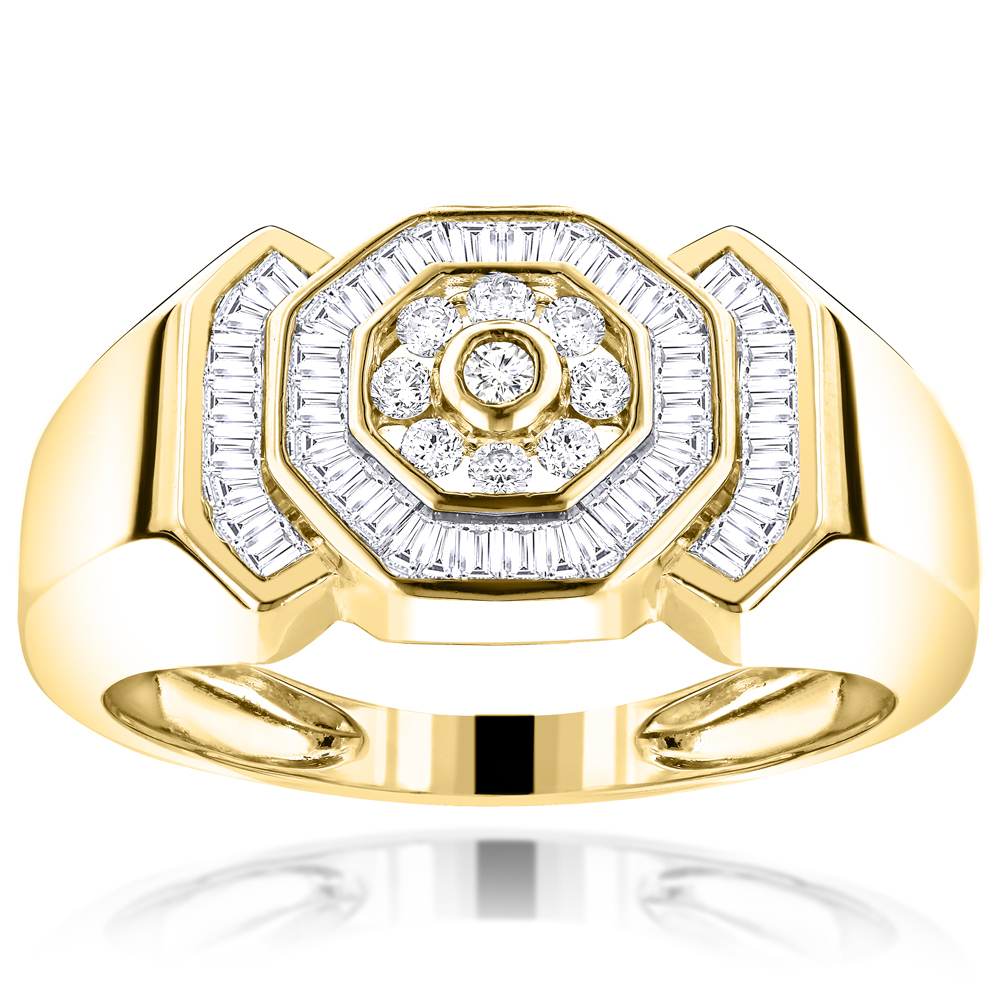 10K Gold Round and Baguette Diamond Mens Ring 0.95ct