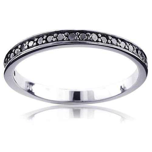 Ultra Thin 10K Gold Slim Stackable Black Diamond Womens Wedding Band 0.21ct