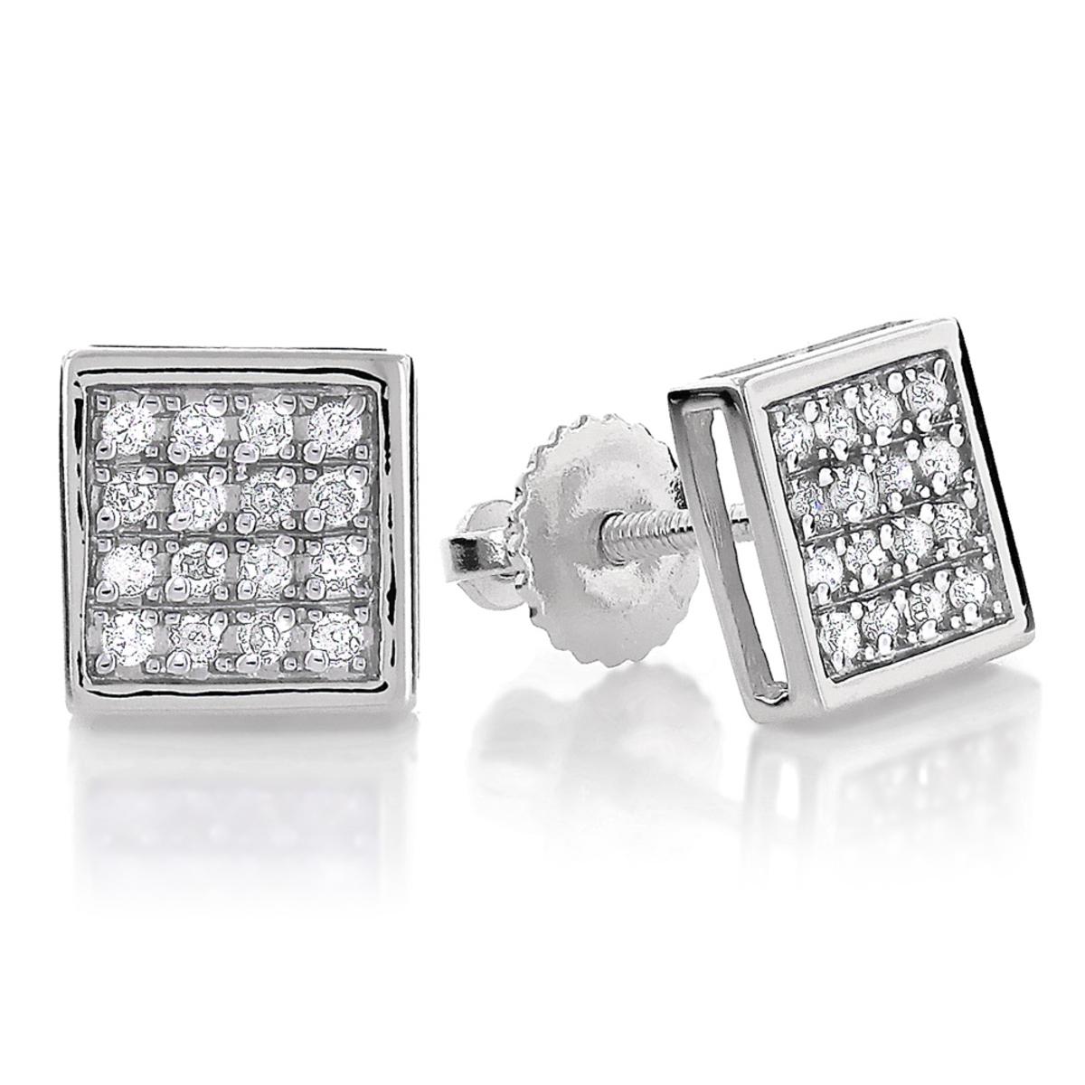 10K Gold Square Pave Diamond Stud Earrings 0.19ct