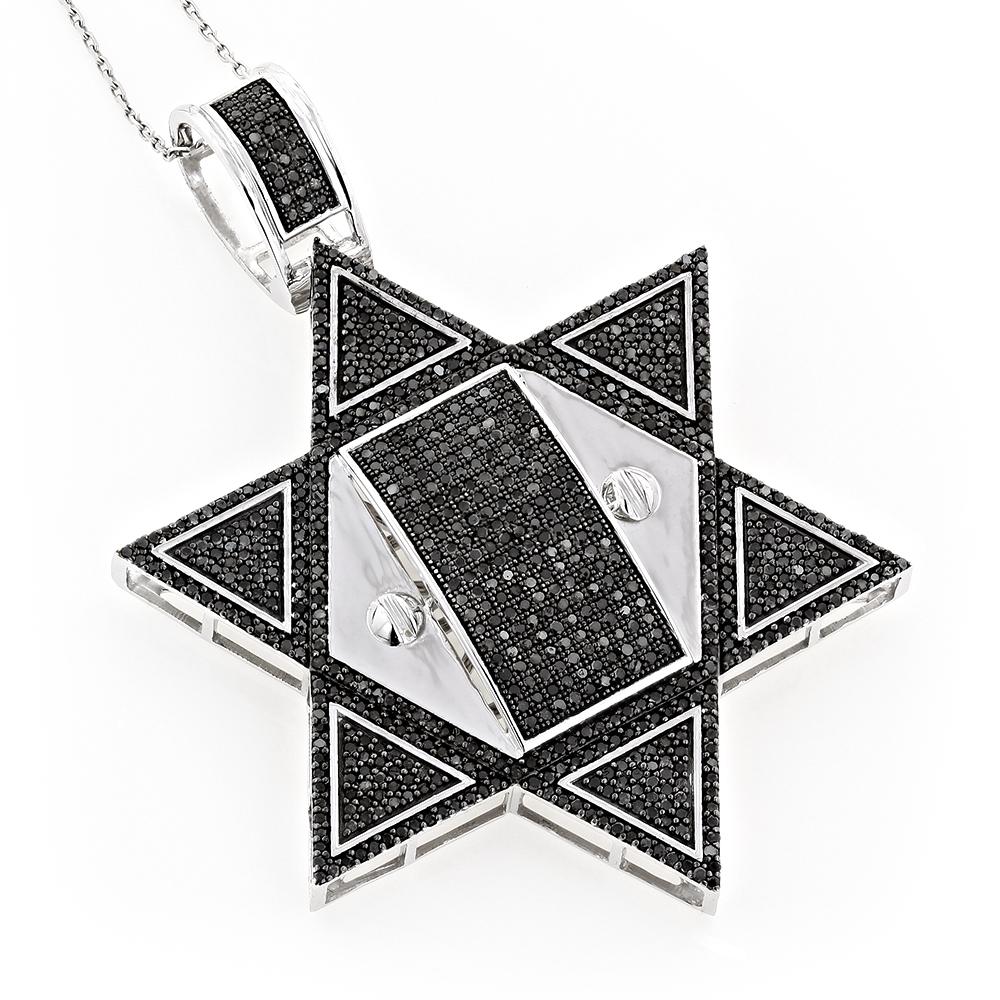 10K Gold Star of David Pendant with Black Diamonds 3.34