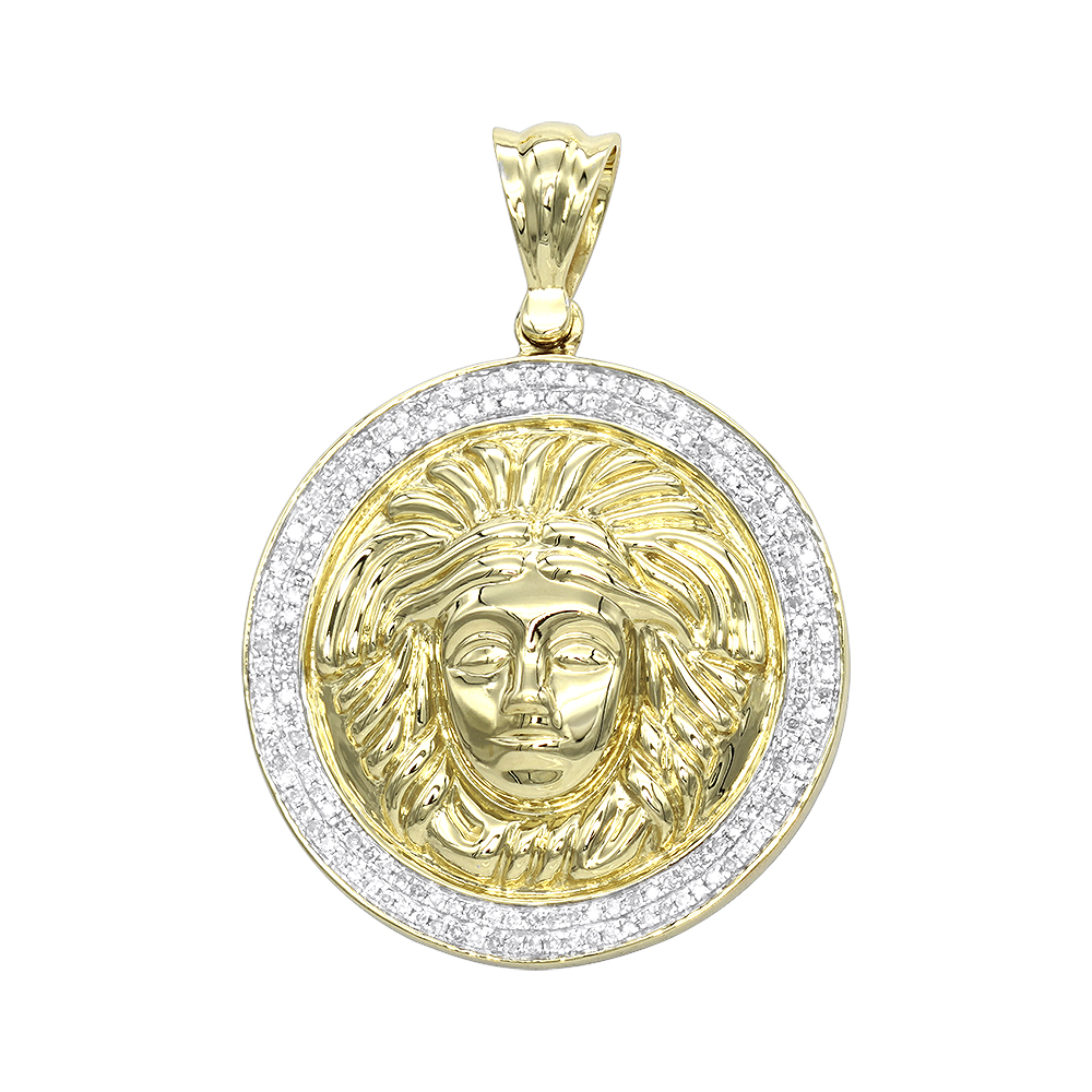 10K Gold  Versace Style Diamond Pendant Medusa Head Medallion for Men 0.5ct