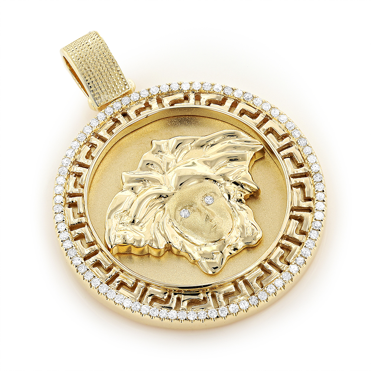 10K Gold Versace Style Diamond Pendant Medusa Medallion 0.61ct