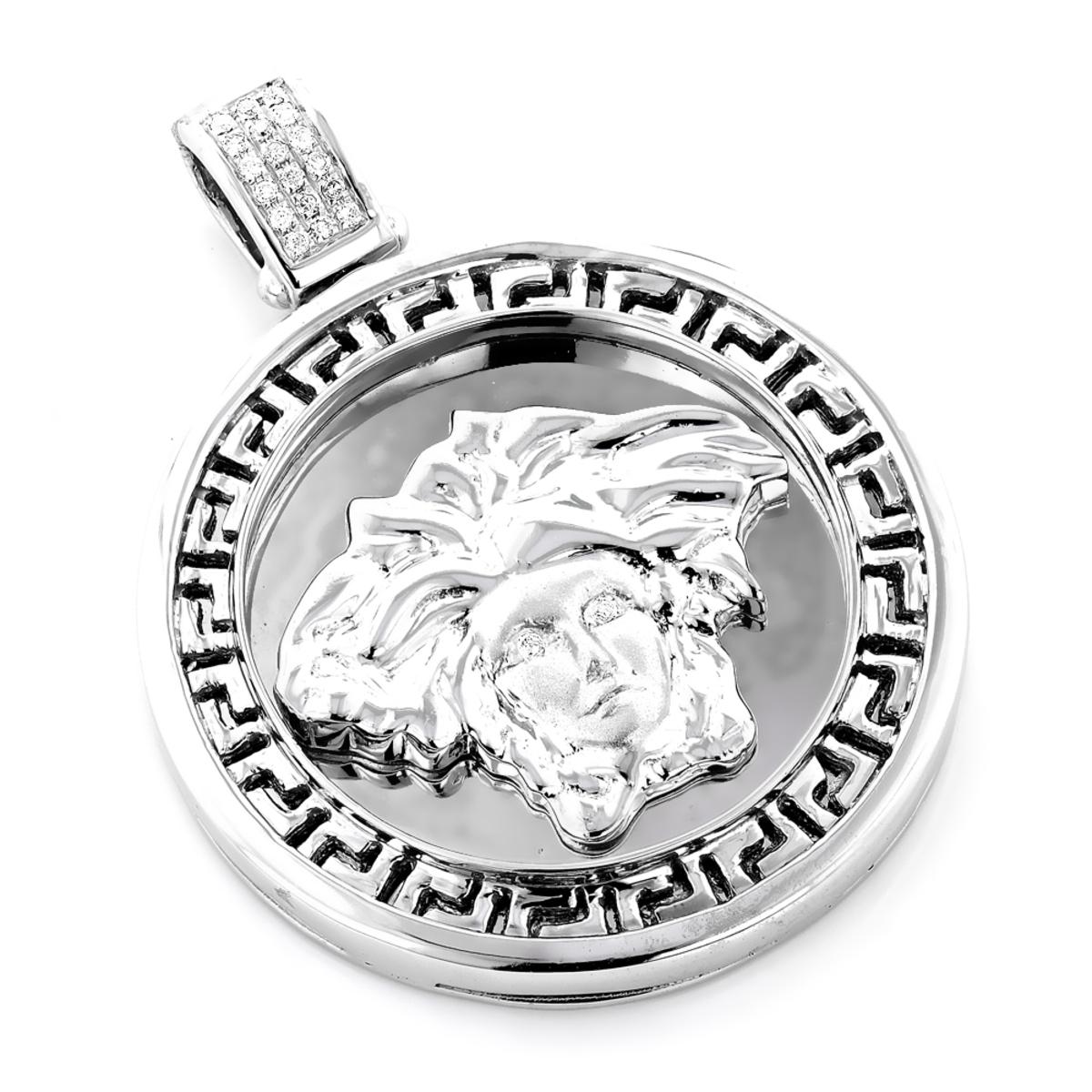 10K Gold Versace Style Medusa Head Diamond Pendant Medallion