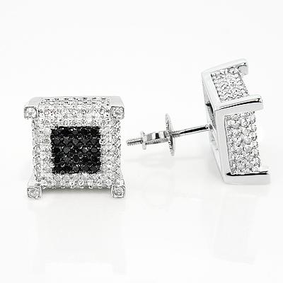 10K Gold  White Black Diamond Earrings 1.21ct