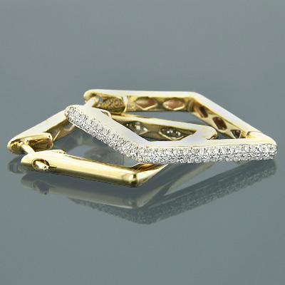 10K Gold Womens Pave Kite Diamond Earrings 0.65ct