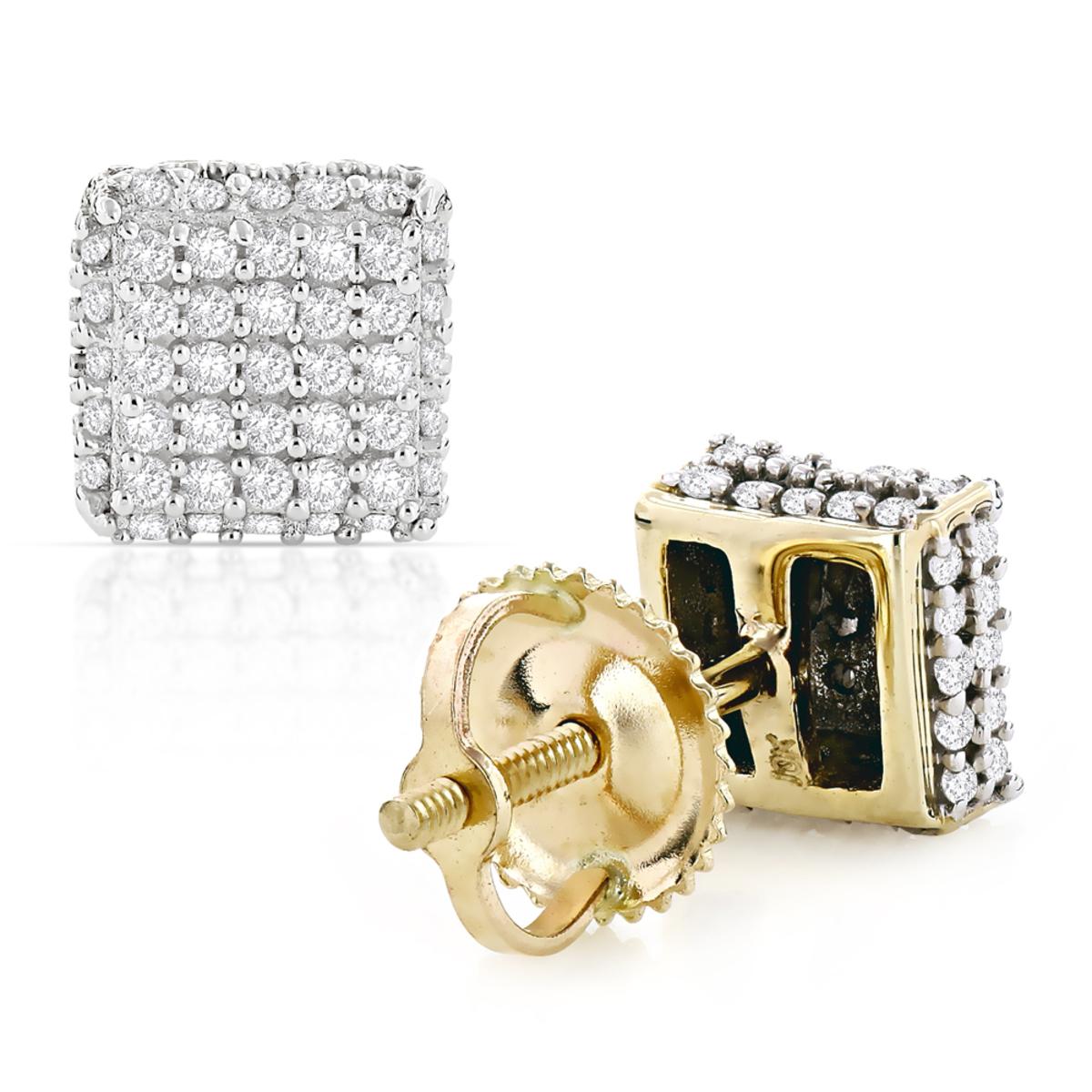 10K Pave Diamond Stud Earrings 0.53ct