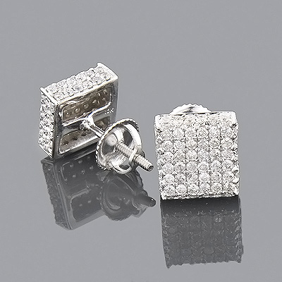 10K Pave Diamond Stud Earrings 1.50ct