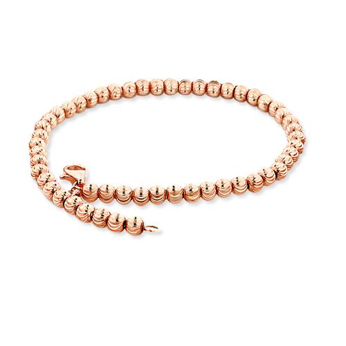 10K Rose Gold Moon Cut Chain Bracelet 6mm 7.5-9in