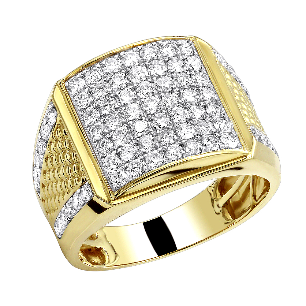 10k Solid Gold Men's Diamond Rind by LUXURMAN 2.25 Carats