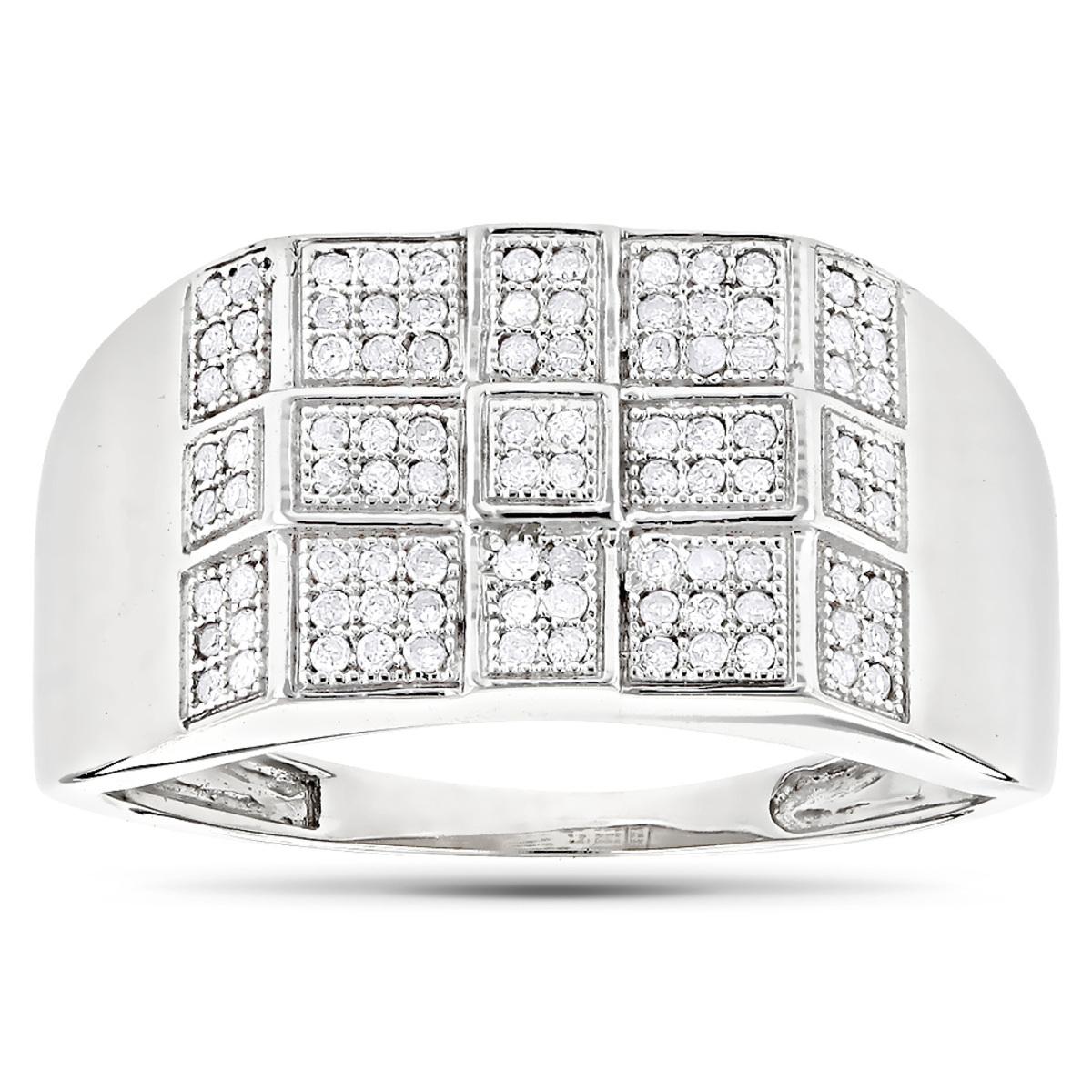 10K White Gold Mens Diamond Ring 0.34ct