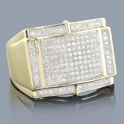 10K Yellow Gold Mens Diamond Ring 0.66ct