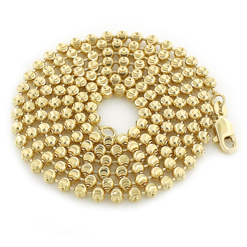 10K Yellow Gold Moon Cut Bead Chain 3mm; 22-40in