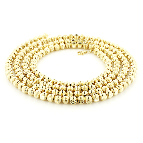 10K Yellow Gold Moon Cut Chain 6mm 22-40in
