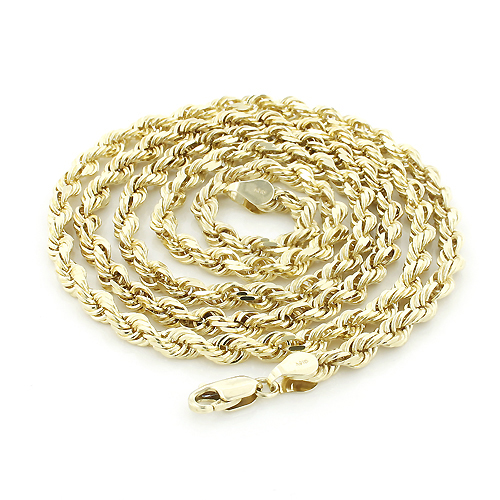Hollow 10K Yellow Gold Rope Chain for Men 2.5 mm 22-30in