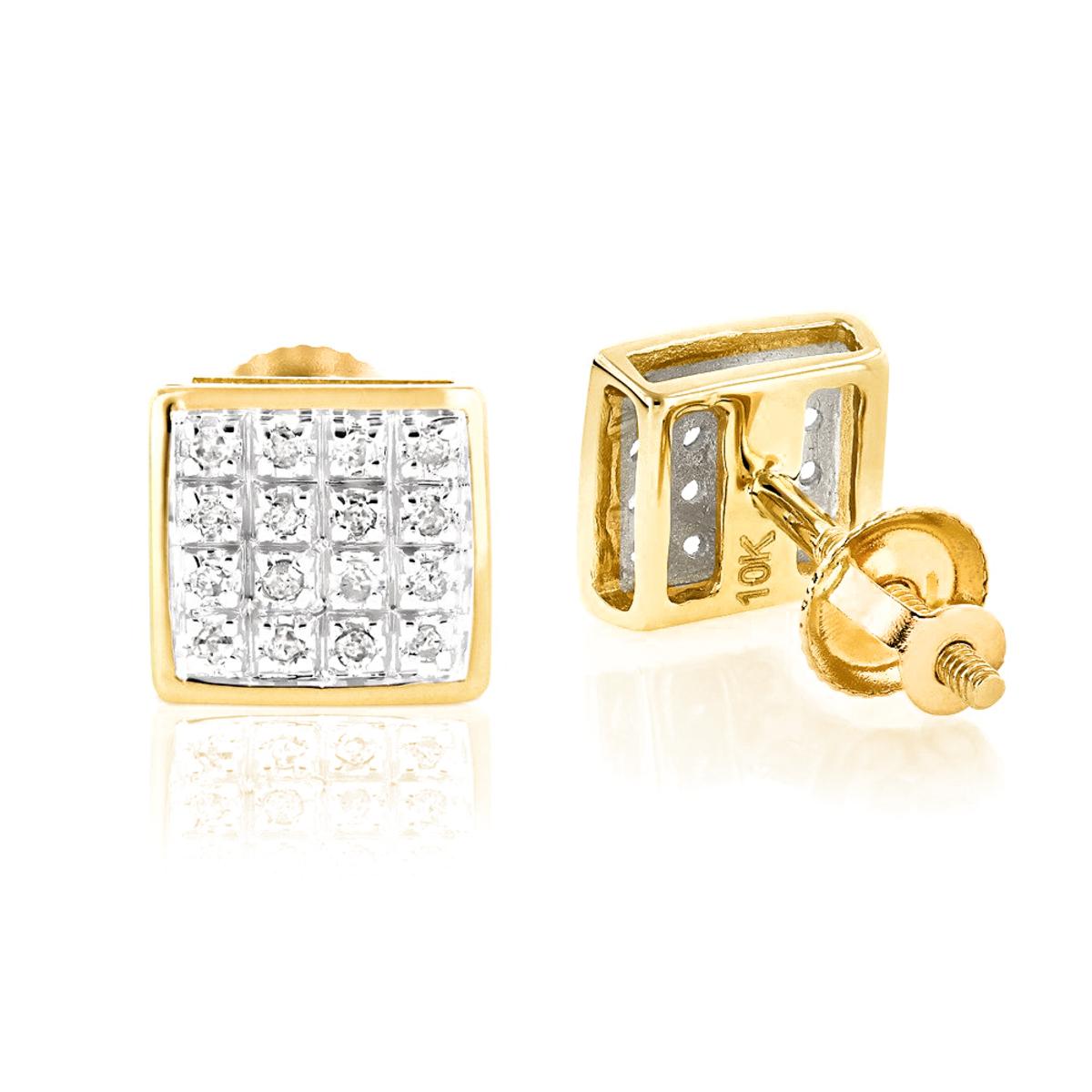10K Yellow Gold Round Diamond Stud Earrings 0.18ct