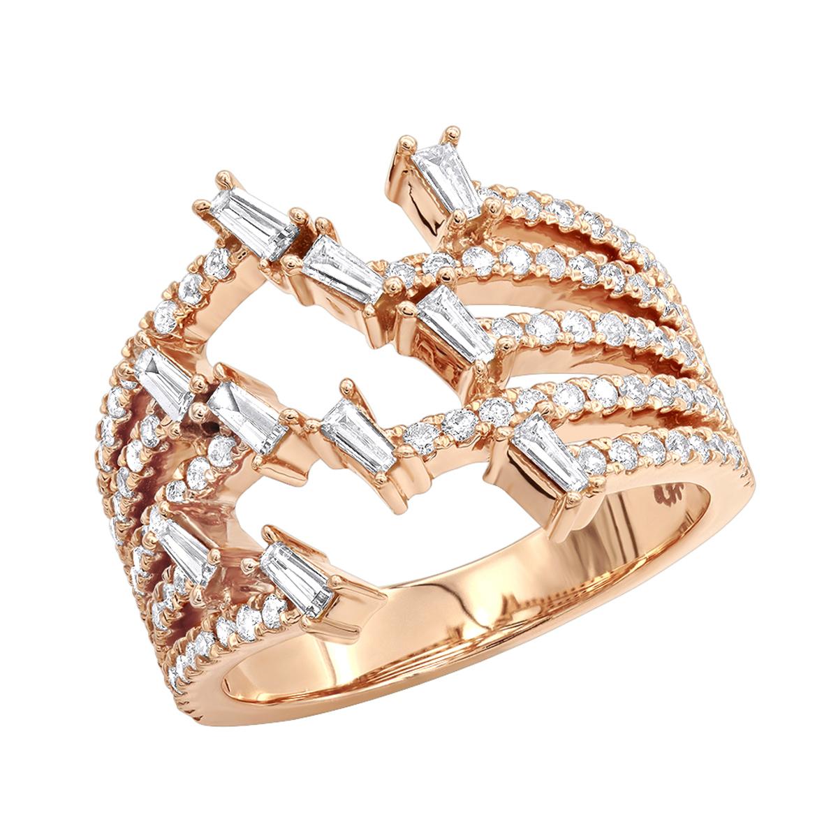 1.1 Carat Designer Diamond Right Hand Ring for Women by Luxurman 14k Gold