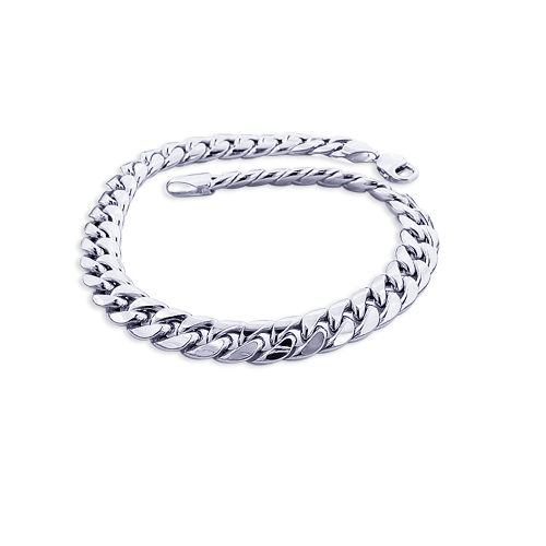 11mm White Gold Miami Cuban Link Chain Bracelet in 10K 7.5-9in