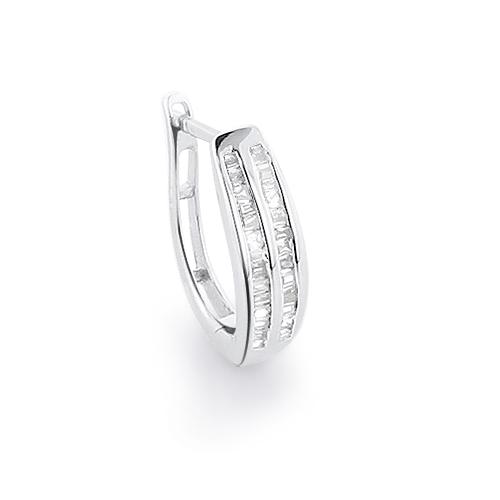 14K Gold Baguette Diamond Hoop Earring 0.25ct