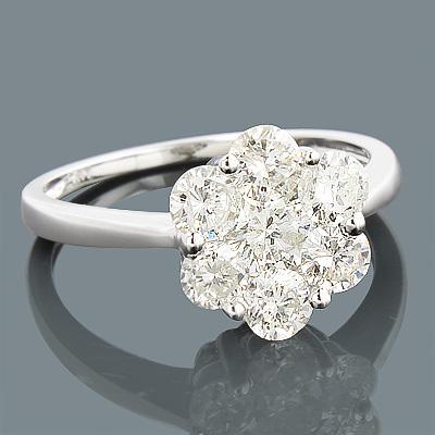 14K 7 Stone Ladies Diamond Cluster Ring 1.65ct