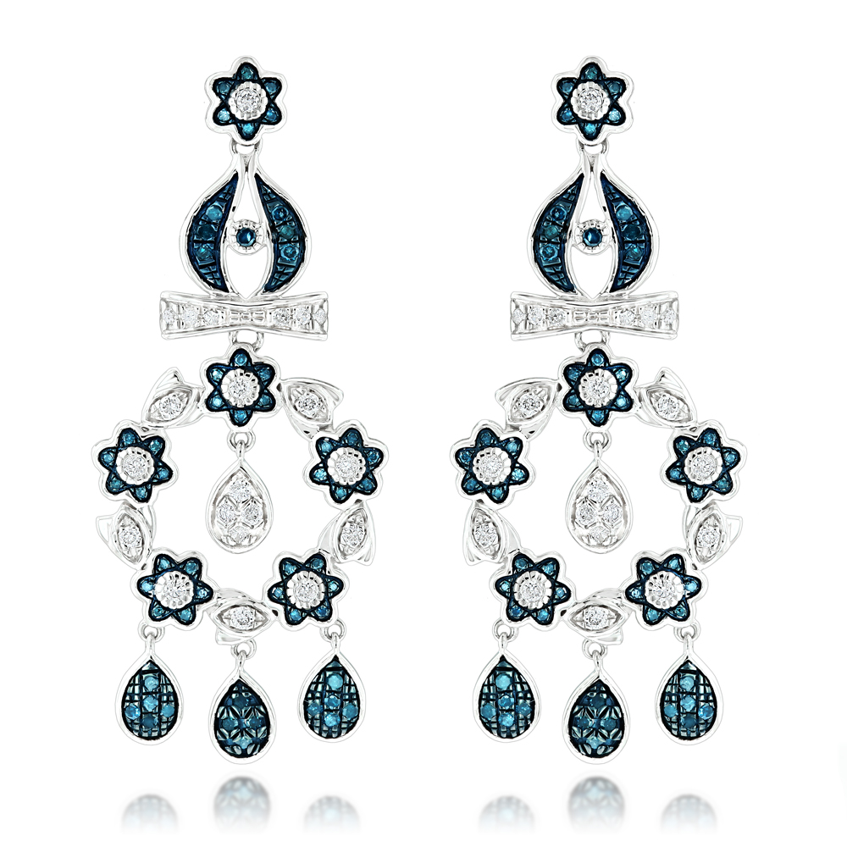 14K Blue Diamond Flower Chandelier Earrings 1.61ct