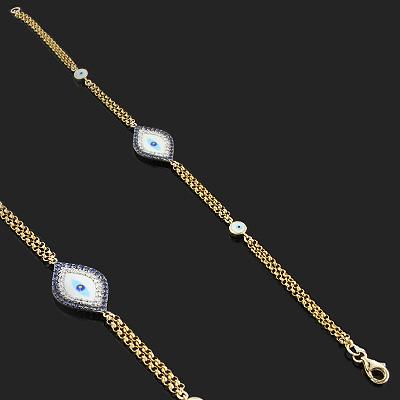 14K Blue Sapphire and Diamond Evil Eye Bracelet .13ct