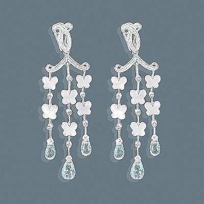 14K Chandelier Earrings Blue Topaz Mother of Pearl 0.37