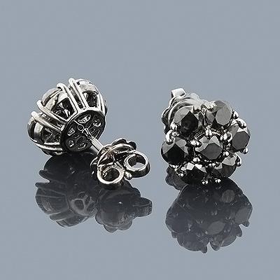 14K Gold Cluster Black Diamond Stud Earrings 4.32ct