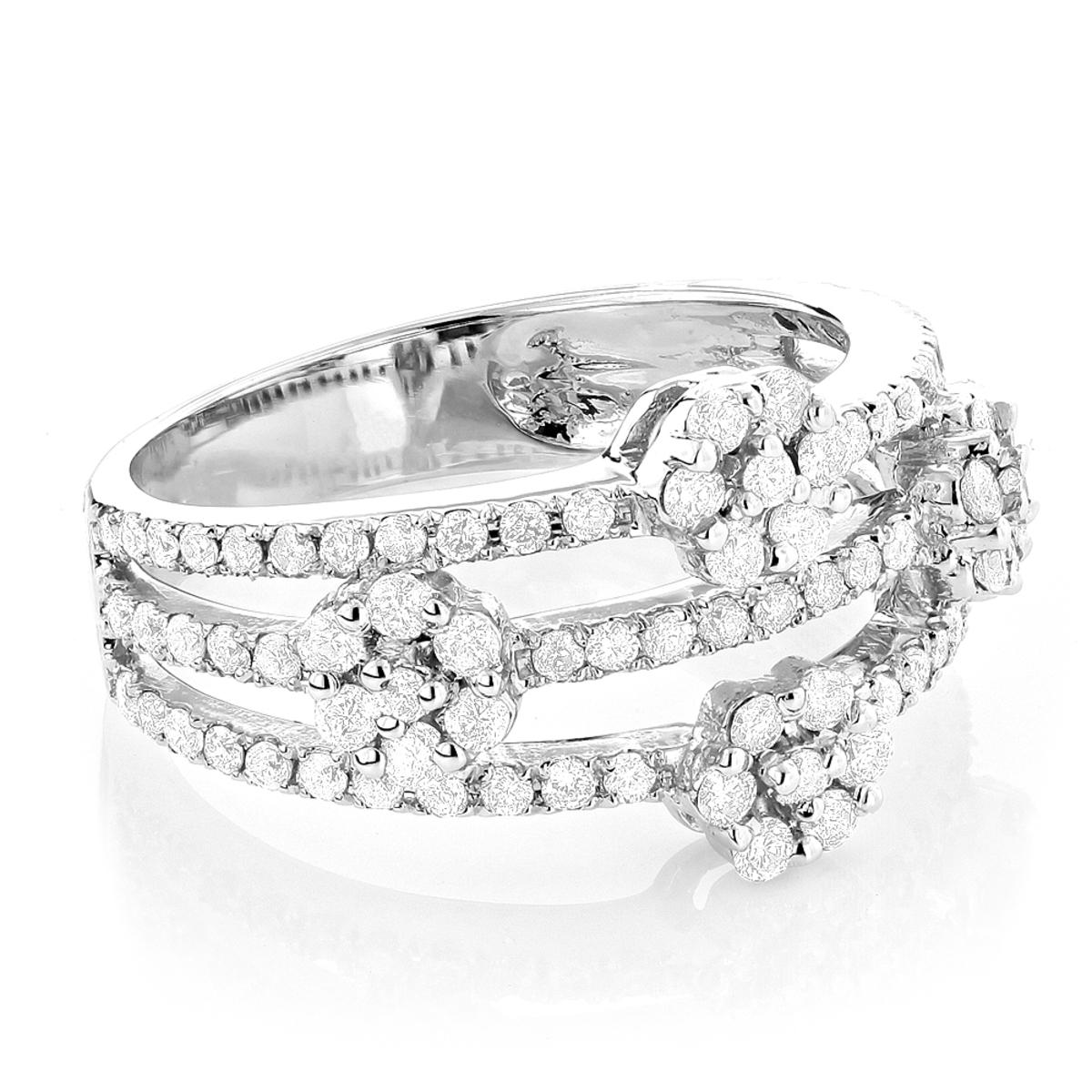 14K Cluster Diamond Flower Ring 1.19ct