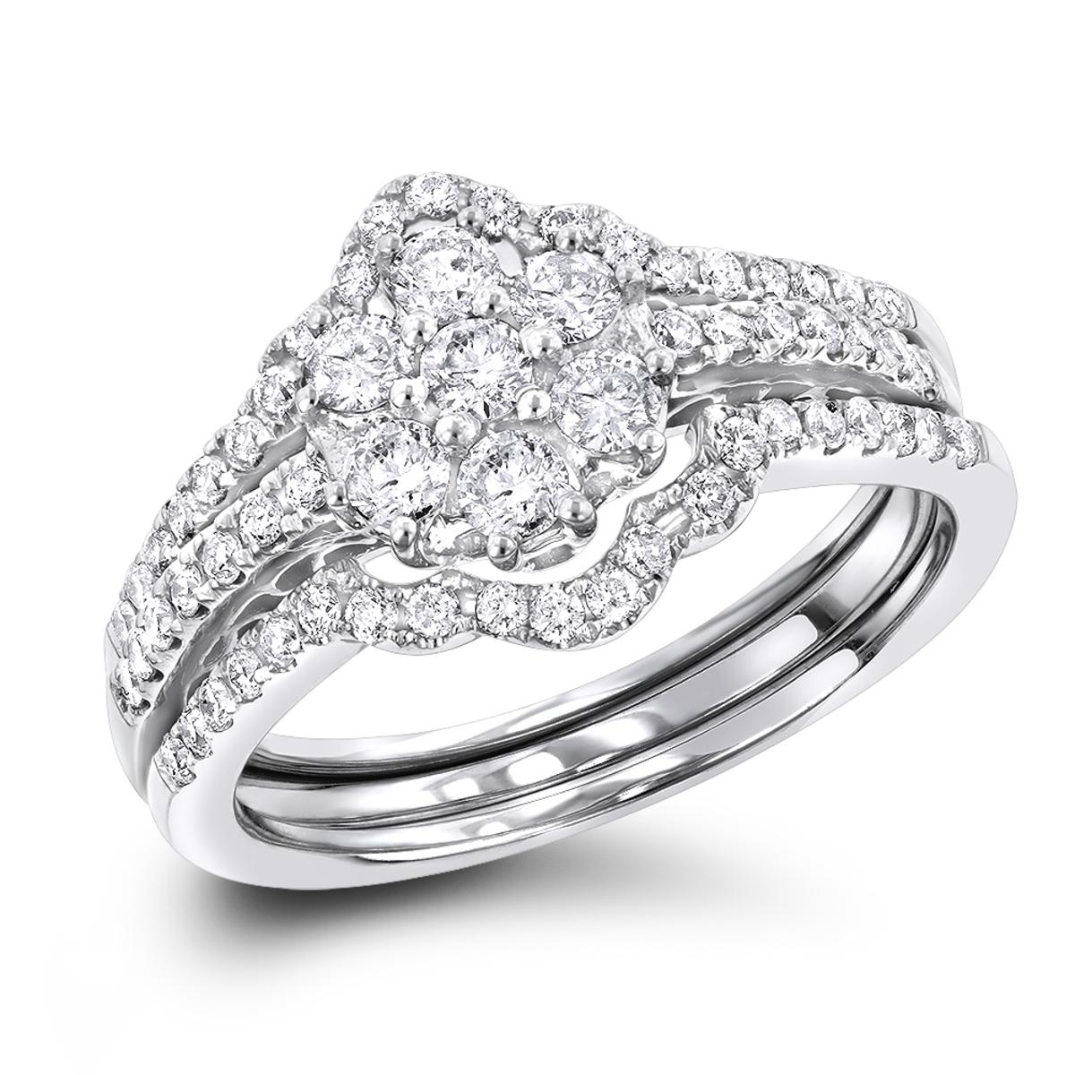14K Gold Cluster Diamond Ring Set Trio 1.11ct