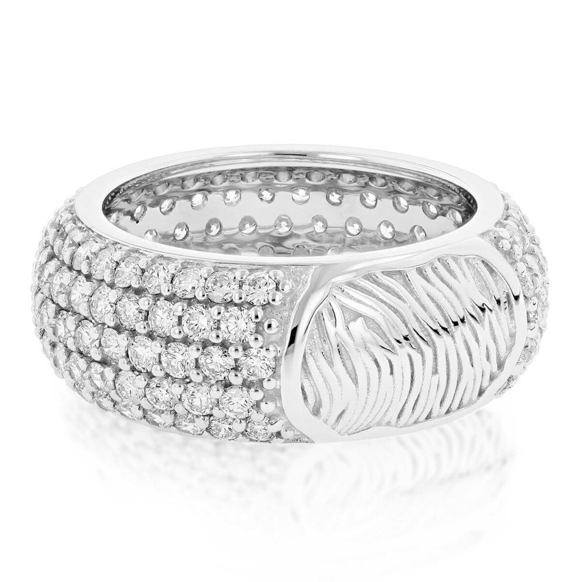 14K Gold Custom Fingerprint Ring Round Diamond Eternity Band 4.35ct