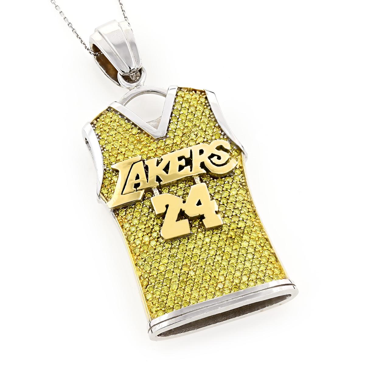 14K Customizable Diamond Basketball Jersey Pendant 5.8ct