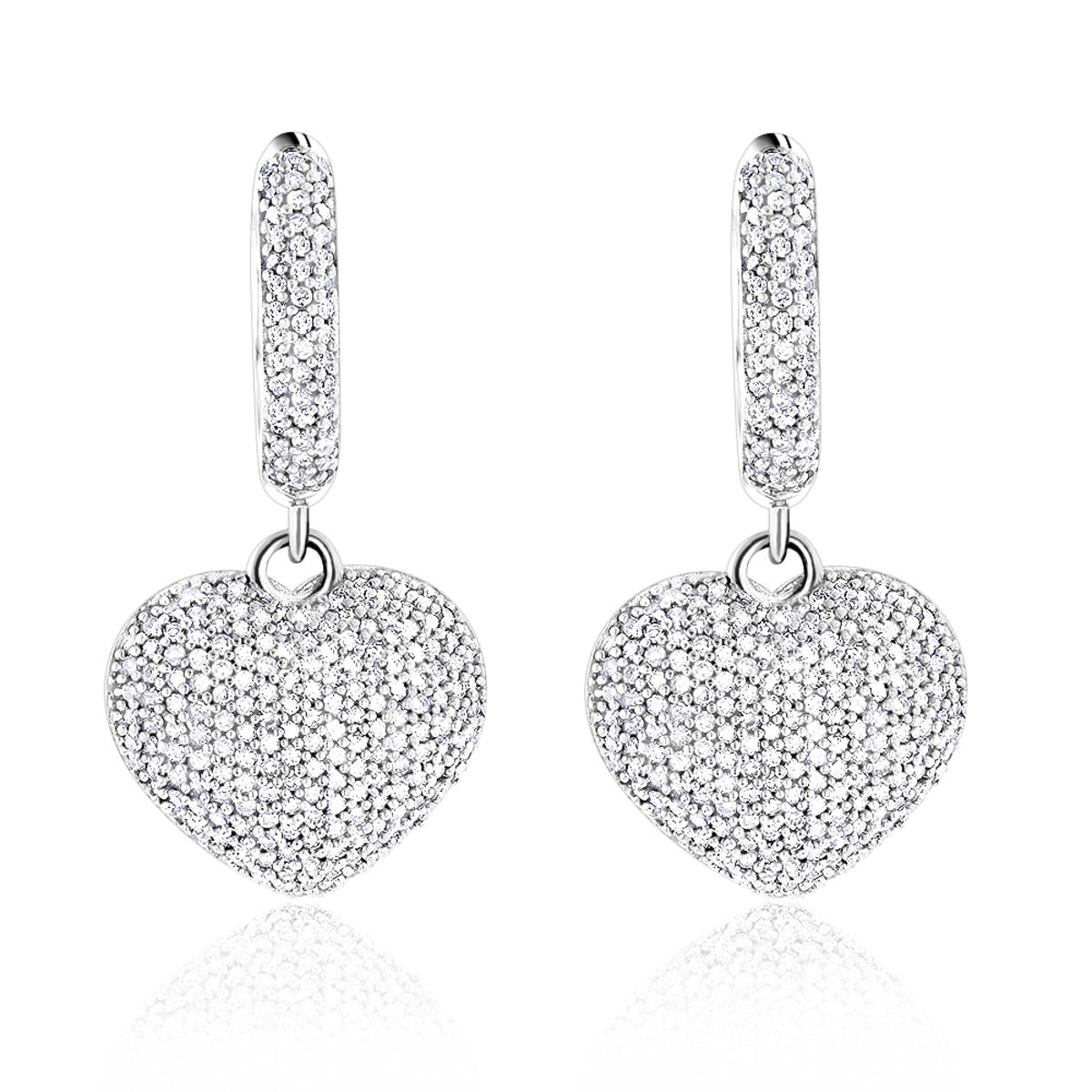 14K Dangle Diamond Heart Earrings 1 ct