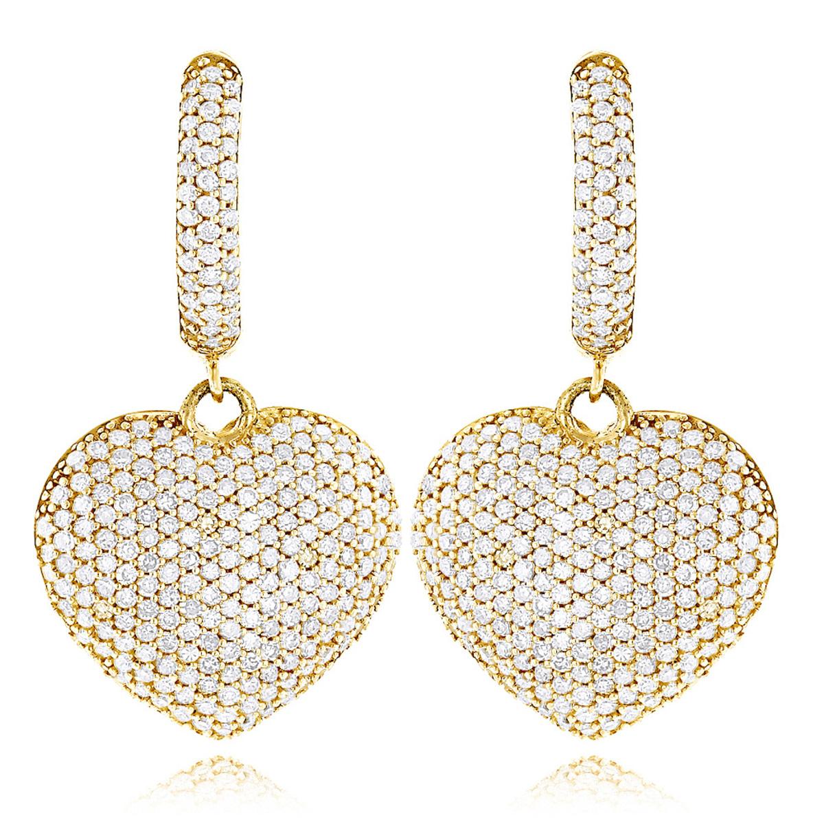14K Dangle Diamond Heart Earrings 1.95ct