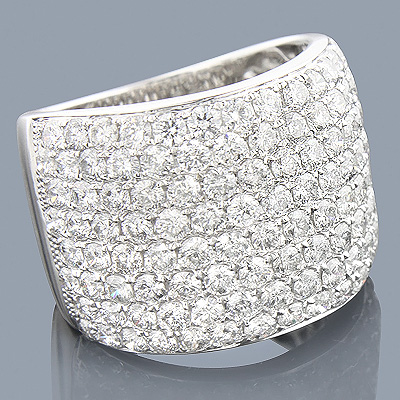 14K Gold Wide Designer Diamond Ring 5.96ct