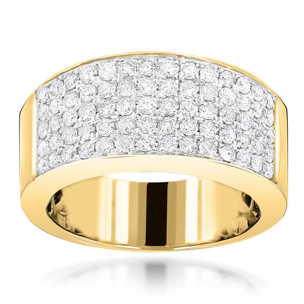 14K Designer Diamond Wedding Band 1.67ct Womens or Mens Pave Diamond Ring