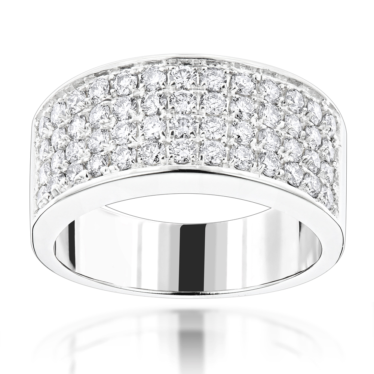 14K Gold Designer Diamond Wedding Band 1.82ct