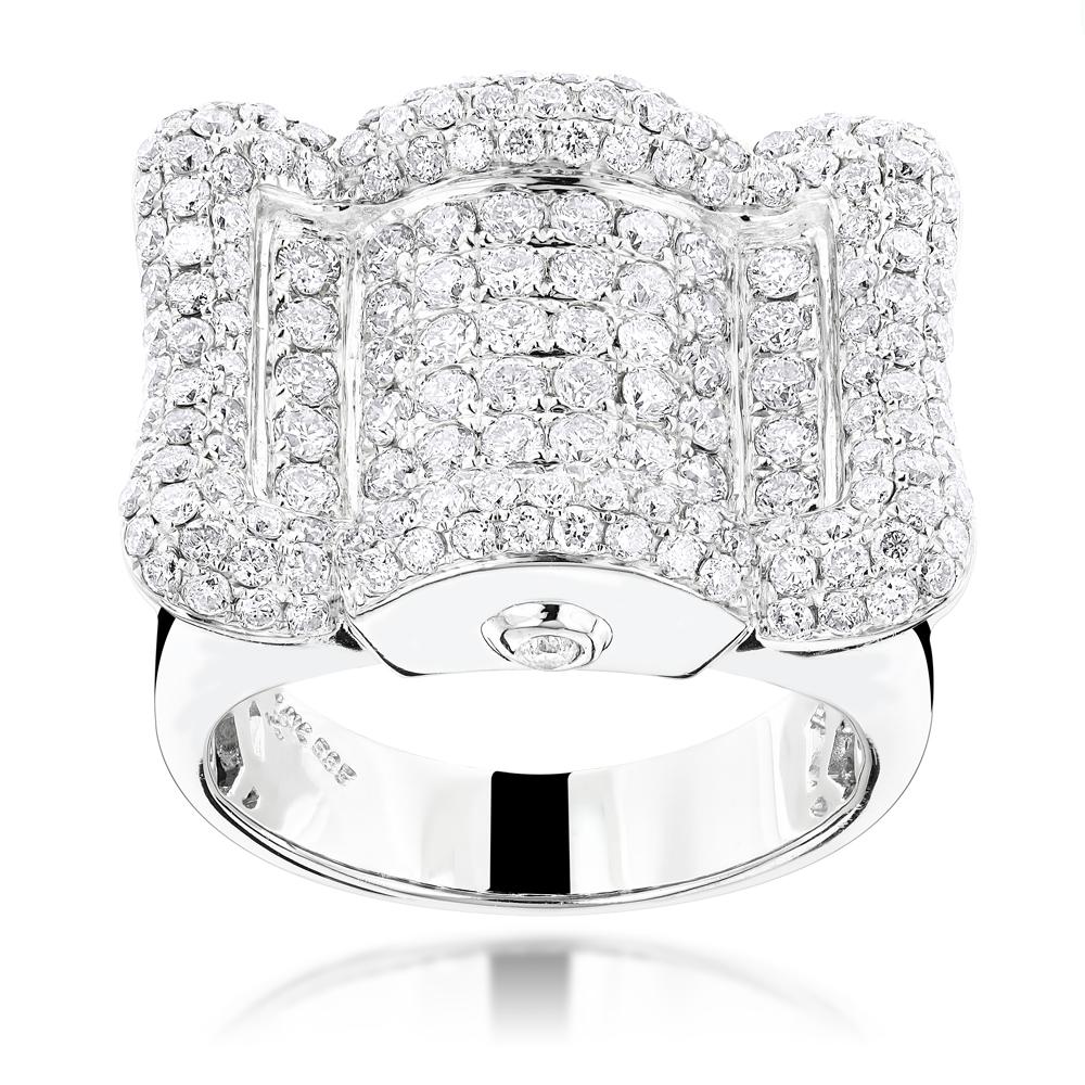 14K Designer Mens Diamond Ring 3.45ct
