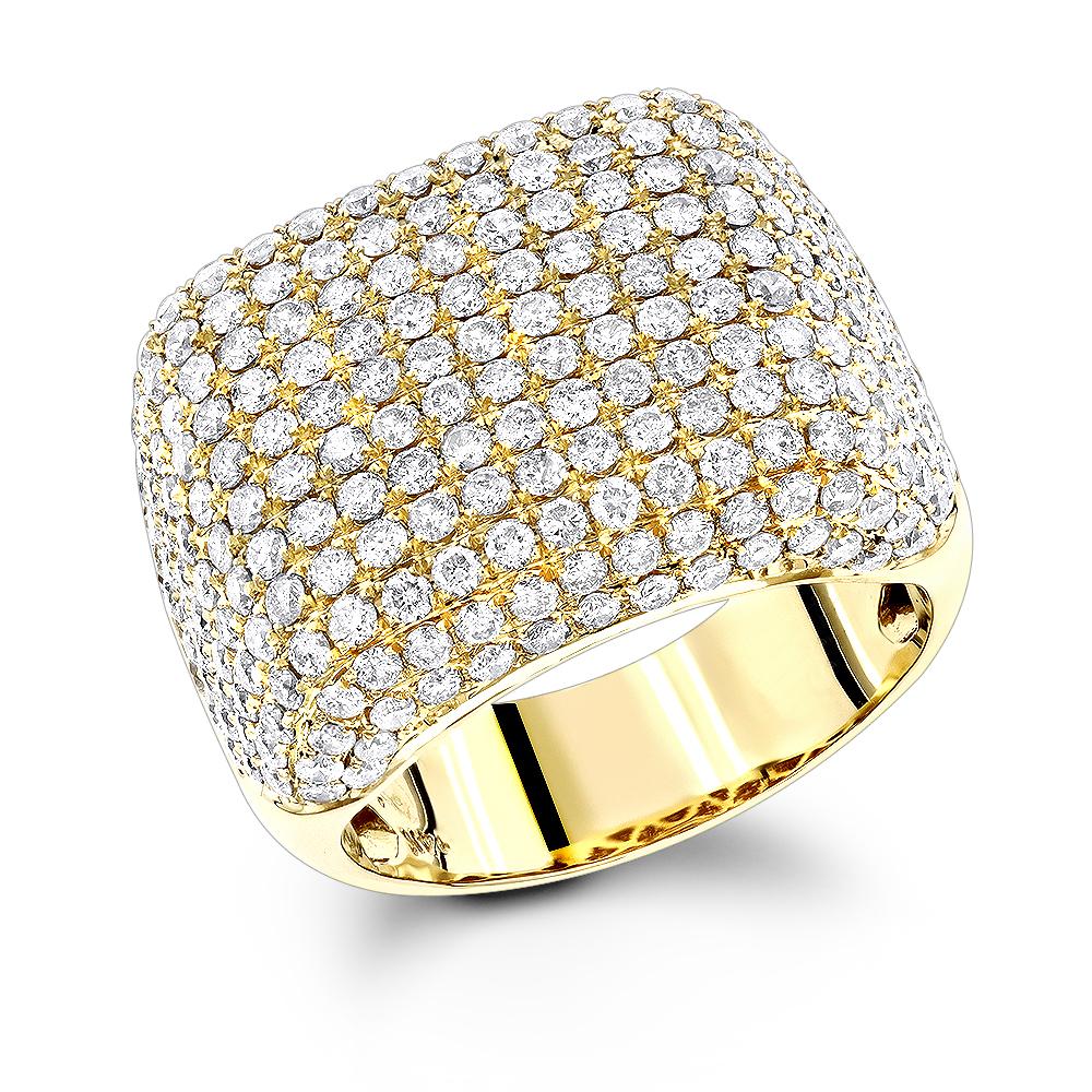 14K Gold Designer Mens Diamond Ring 5.41ct